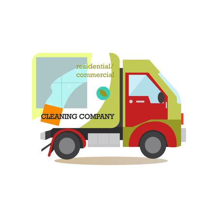 Cleaning service car flat vector illustration