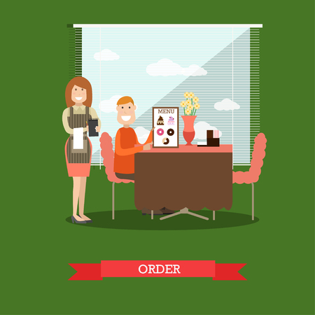 Waitress taking order vector illustration in flat style