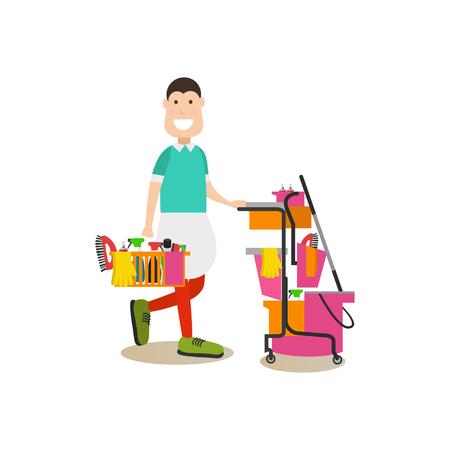 Reinigungsleute vector Illustration in der flachen Art Standard-Bild - 88186080