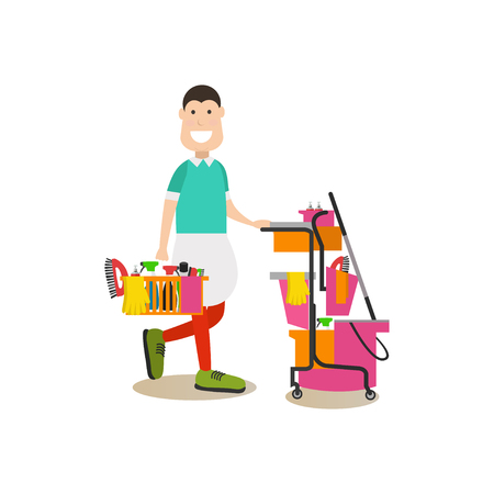 Cleaning people vector illustration in flat style