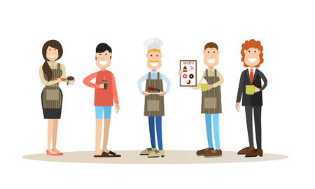 Coffee house people vector illustration in flat style.