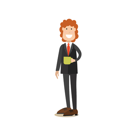 Coffee house director vector illustration in flat style Illustration