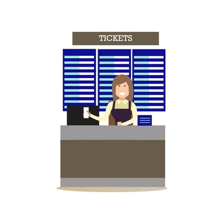 Airport ticket agent vector illustration in flat style.