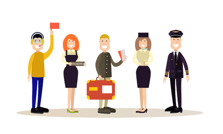 Airport people vector illustration in flat style.