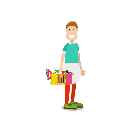 Housekeeping vector illustration in flat style. Illustration