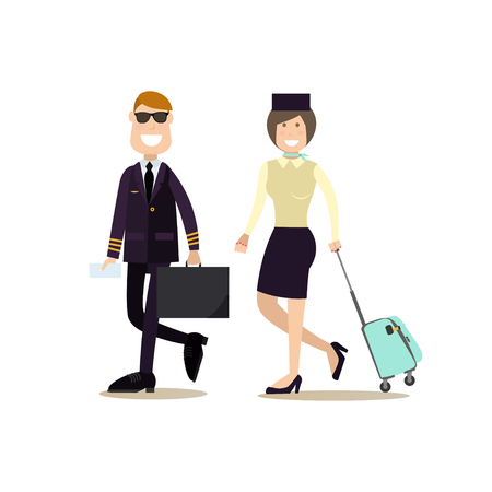 Pilot and stewardess in flat style vector illustration.