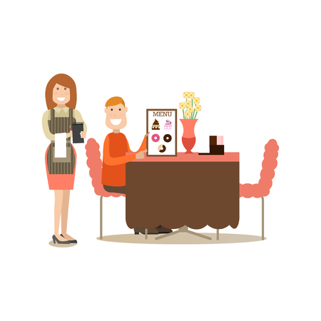 Waitress taking order vector illustration in flat style. Ilustração
