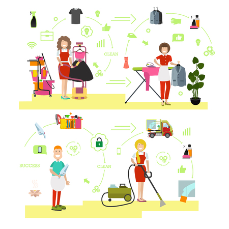Set of cleaning people symbols and icons in flat style.