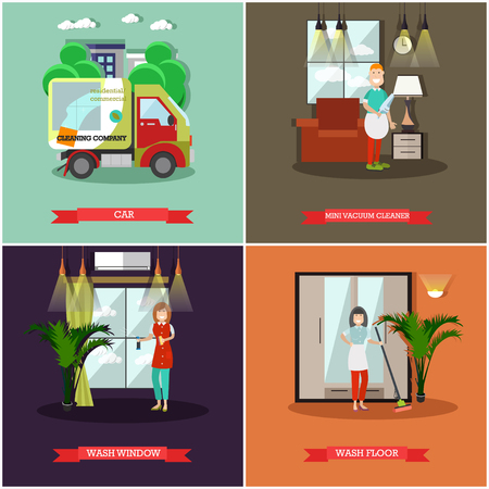 Set of cleaning posters and banners in flat style. Illustration