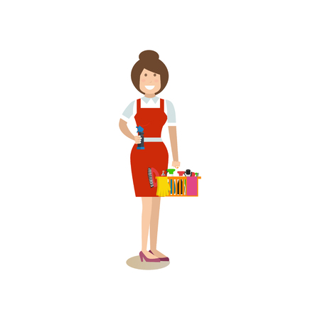 wiping: Cleaning woman vector illustration in flat style. Illustration