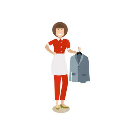 ironing: Woman with coat vector illustration in flat style. Illustration