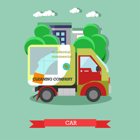 Cleaning service car flat vector illustration.