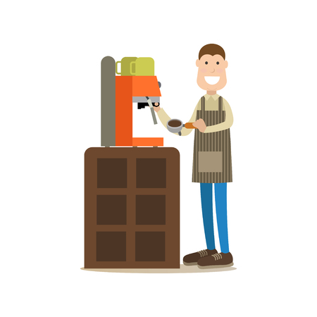 Barista making coffee vector illustration in flat style.