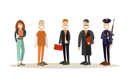 Vector conjunto de iconos de personas de corte de ley en estilo plano