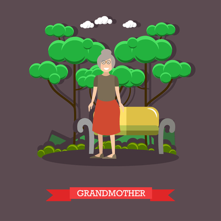 Vector illustration of grandma standing next to bench in the park. Grandmother flat style design element. Illustration