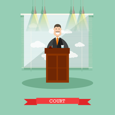 Vector illustration of professional judge in robe standing at tribune. Court flat style design element. Illustration