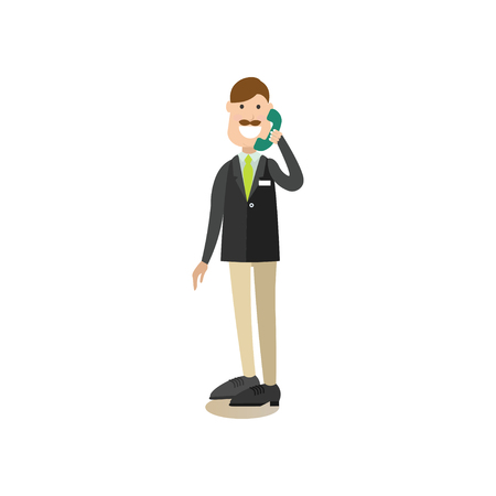 Vector illustration of hotel worker receptionist male talking on the telephone. Hotel people flat style design element, icon isolated on white background.