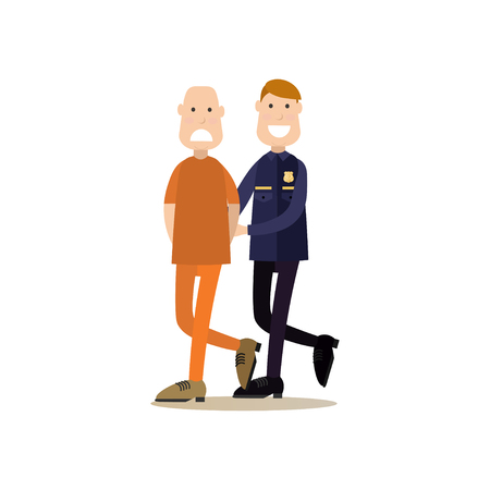 Vector illustration of security guard leading defendant or accused man with hands behind his back to the courtroom. Law court people flat style design element, icon isolated on white background.