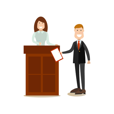 Vector illustration of lawyer questioning witness female standing at tribune. Law court people flat style design element, icon isolated on white background. Illustration