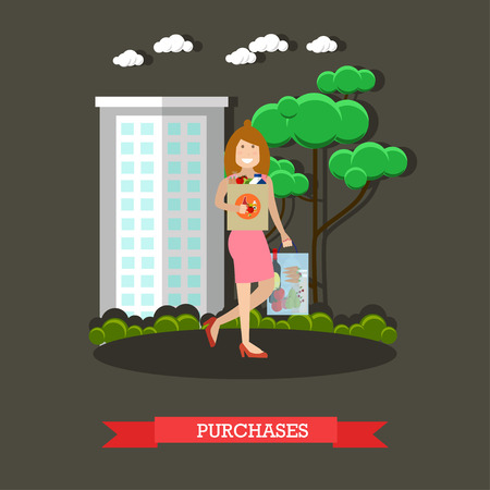 Vector illustration of woman with bags full of groceries. Mother with purchases concept design element in flat style. Illustration