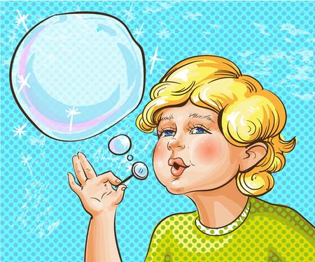 Illustration of happy cute kid blowing soap bubbles in retro pop art comic style. Illustration