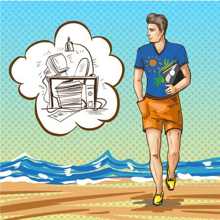 海岸を歩き、バブルを考え事務について考えると、ハンサムな男性のイラストです。
