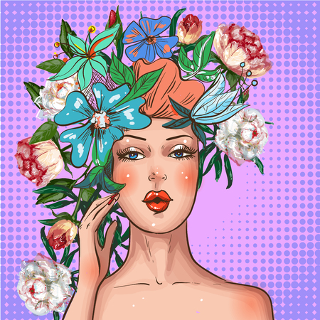 Illustration of beautiful young woman with flower wreath on her head.