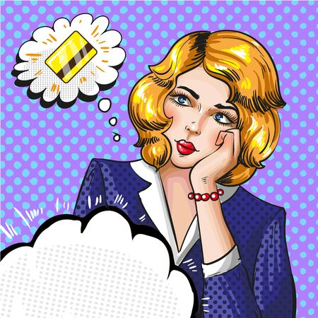 Vector pop art illustration of woman thinking about credit card