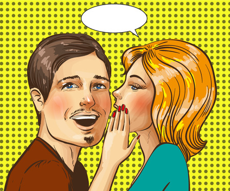 Vector pop art illustration of happy couple whispering
