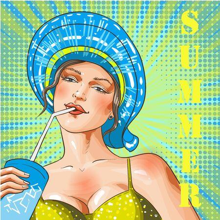 Vector vintage pop art summer beach holiday illustration