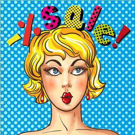 Vector vintage pop art sales advertising poster