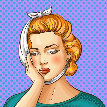 Vector vintage pop art illustration of woman having toothache