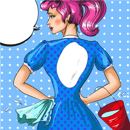 Vector vintage pop art illustration of cleaning woman Ilustracja