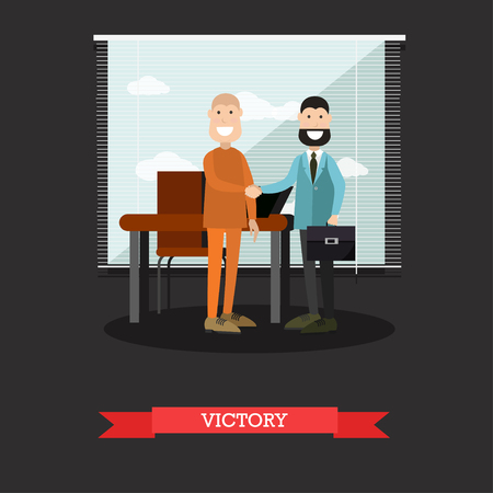 Victory in court case concept vector illustration in flat style Vektorové ilustrace