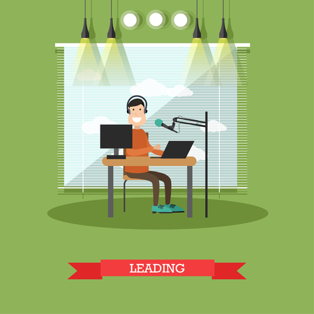 Radio presenter concept vector illustration in flat style Illustration
