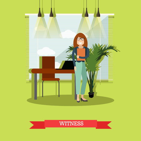 Witness concept vector illustration in flat style