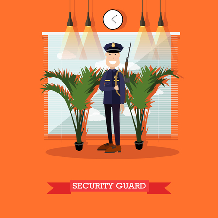 Security guard vector illustration in flat style Illustration