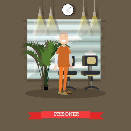 Prisoner vector illustration in flat style