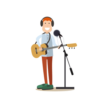 Radio people vector illustration in flat style Vectores