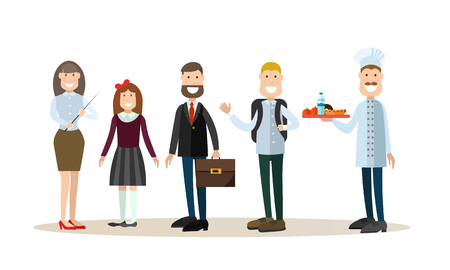 School people vector illustration in flat style