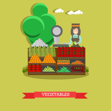 Vector illustration of saleswoman standing at market stall with vegetables. Flat style design.