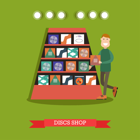 Discs shop concept vector illustration in flat style