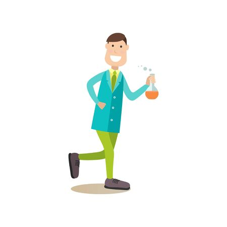 Illustrazione vettoriale di felice scienziato maschio con pallone di prova. Elemento di design piatto stile concetto di scienza persone, icona isolato su priorità bassa bianca.