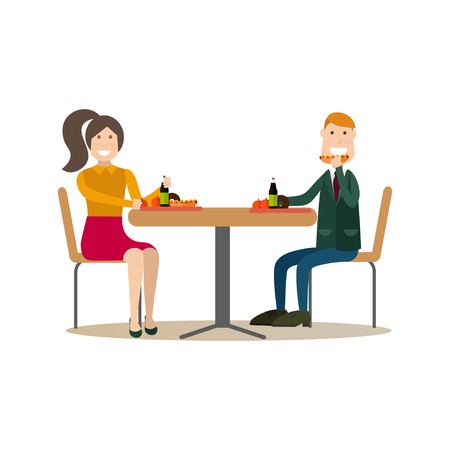 Vector illustration of students having lunch break. School people concept flat style design element, icon isolated on white background.