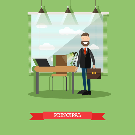 Vector illustration of headmaster male at his office. School principal concept design element in flat style.