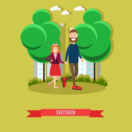 Vector illustration of father taking his daughter to school in the morning. Back to school. Flat style design.