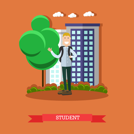 Vector illustration of schoolboy with backpack. Student concept design element in flat style.