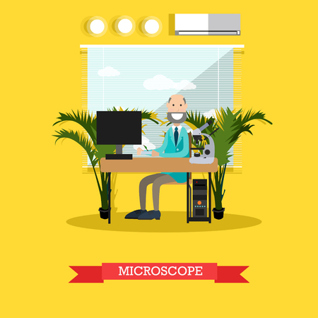Microscope concept illustration in flat style Illustration