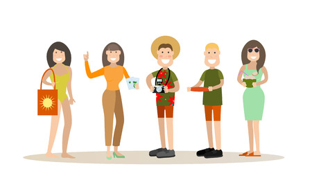 Summer people vector illustration in flat style