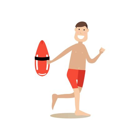Beach rescuer illustration in flat style Illustration